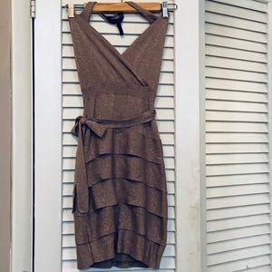BCBG Maxazria Knit Sparkly Halter Party Dress